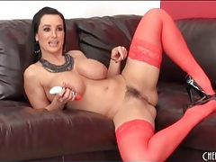 Lisa ann fucks a toy in sexy red stockings tubes