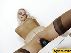 Slender blond-haired full in nylons tubes