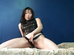 Shiny black latex dress on asian girl tubes