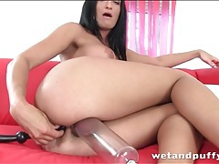 Pleasure beads pulled slowly from her tight ass tubes