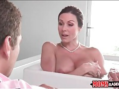 Milf soaks in the bathtub and sucks dick tubes