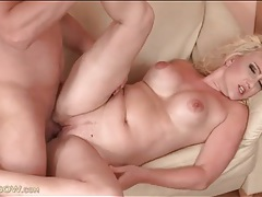 Milf gets horny and fucked on the couch tubes