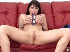 Milf with big round fake tits masturbates tubes