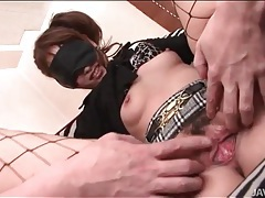 Blindfolded japanese beauty sucks hard dick tubes