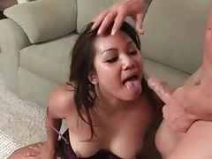 Asian mouth used as a hole to fuck deep tubes