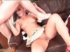 Blonde honey sucks the dick that fucks her tubes