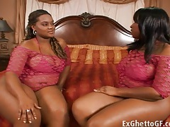 Two huge hood girls in a threesome tubes