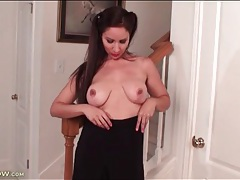 Milf in soft satin blouse strips solo tubes