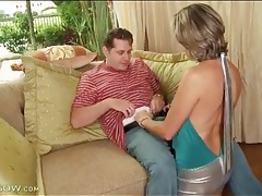Hot mom slut in shiny silver skirt sucks dick tubes