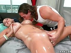 Busty naked babe massaged and fingered tubes