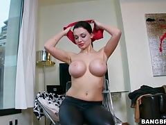 Wet look leggings on pornstar aletta ocean tubes