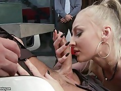 Blonde slut masturbates for two horny guys tubes