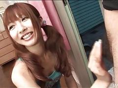 Pigtailed japanese teen kotone aisaki strokes cock tubes