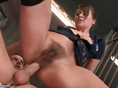 Anal creampie for slut in tight leather boots tubes