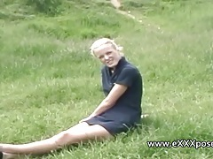 British blonde outdoors flashes panties tubes