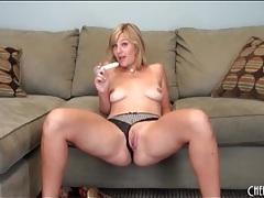 Blonde drops panties and masturbates pussy tubes