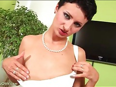 Milf strips from little dress and fingers pussy tubes
