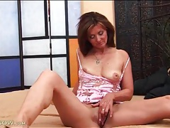 Younger man eats out her wet mature pussy tubes