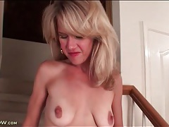 Milf teases hard nipples in close up tubes
