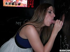 Pretty girl in cute dress sucks dick at gloryhole tubes