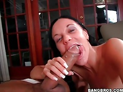 Slut slobbers on big cock and rides it tubes