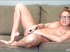 Naked nikki delano masturbates in glasses tubes