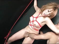 Rope bound japanese girl fingered in wet pussy tubes