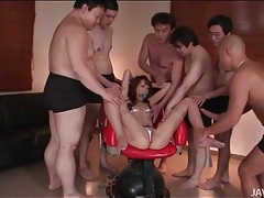 Bound girl lubed and fondled by group of guys tubes