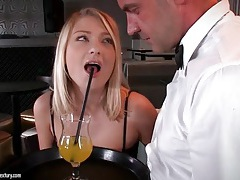 Bartender goes down on hot blonde customer tubes