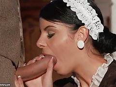 Sexy french maid gives blowjob to big cock tubes