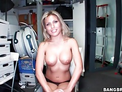 Blonde aubrey addams strips and interviews tubes