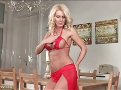 Red lingerie and high heels on blonde milf tubes