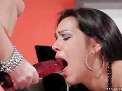 Sexy brunette gags when sucking strapon cock tubes