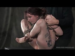 Bound girl bent like a pretzel in sexy bdsm porn tubes