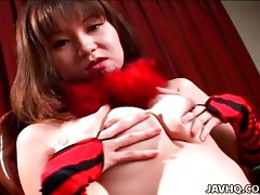 Japanese girl in sexy red and black lingerie solo tubes