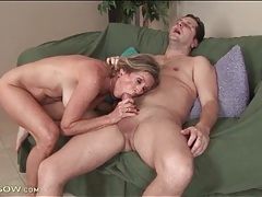 Freckled mature slut rides big hard young cock tubes