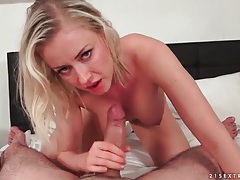 Big dick stroked and sucked by slutty blonde tubes