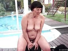 Chubby grandma rides sybian outdoors tubes