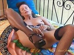 Dildo fucking milf chick in fishnet stockings tubes
