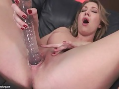 Shaved wet pussy fucked by long dildo tubes