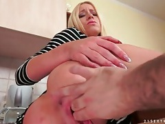 Beautiful blonde with tight body sucks his dick tubes