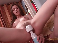 Cute skinny milf masturbates with vibrator tubes