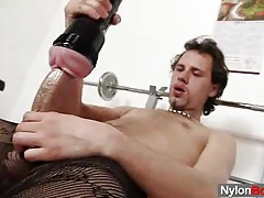 Huge hammer twink in tights tubes