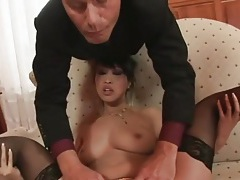 Asian asshole spread wide by a metal device tubes