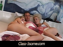 Horny beauties riding cock in a morning threesome tubes