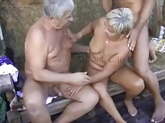 Mature threesome porn with two guys and a granny tubes