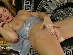 Teen slides finger between her plump cunt lips tubes