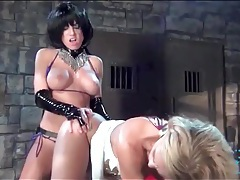 Kinky lesbian strapon sex in the dungeon tubes