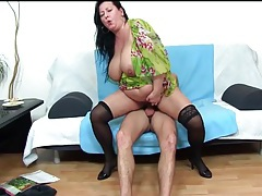 Bbw in pair of black stockings rides a dick tubes