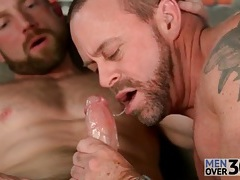 Masculine men with sexy beards suck big cock tubes